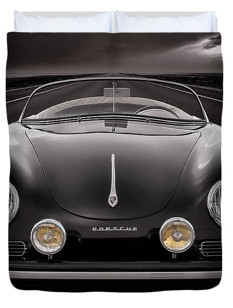 Black Porsche Speedster Duvet Cover