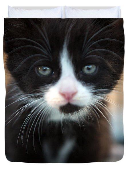 Black And White Kitten Duvet Cover