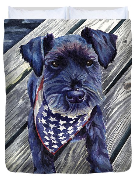 Blue Black Dog On Pier Duvet Cover