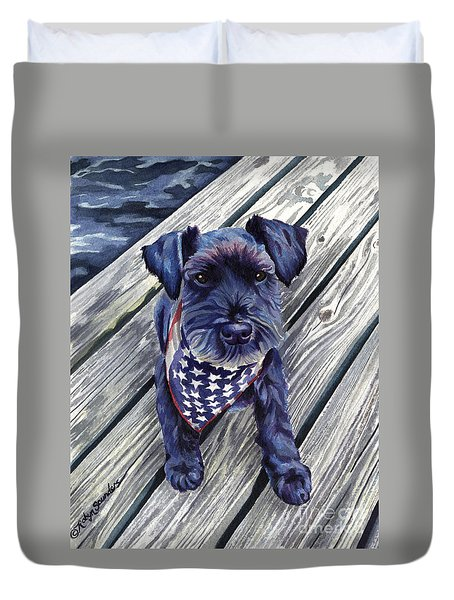 Black Dog On Pier Duvet Cover