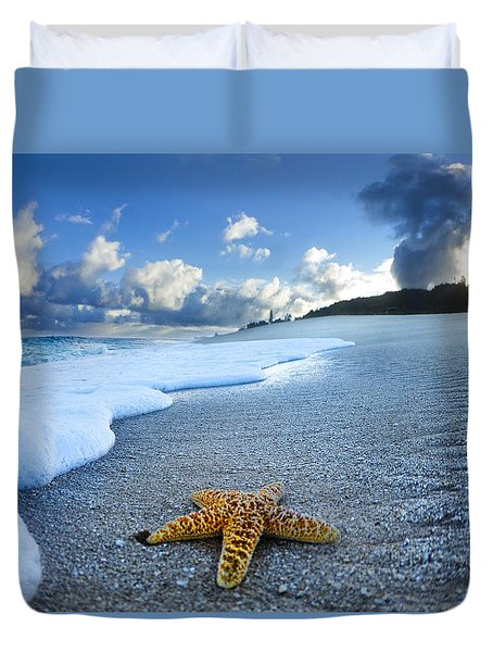 Blue Foam Starfish Duvet Cover