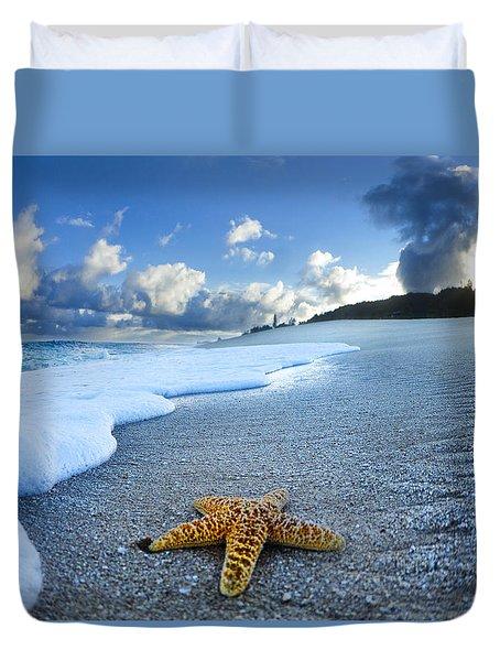 Blue Foam Starfish Duvet Cover