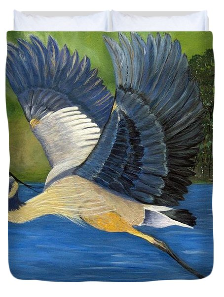 Duvet Cover featuring the painting Blue Heron In Flight by Brenda Brown
