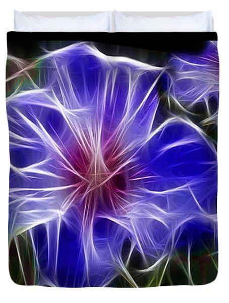 Blue Hibiscus Fractal Duvet Cover by Peter Piatt