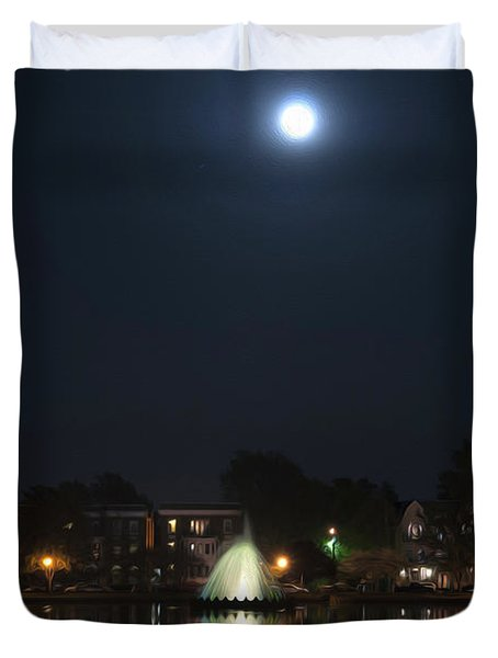 Duvet Cover featuring the digital art Blue Moon Over Fountain Lake by Kelvin Booker