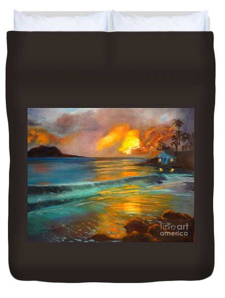 Duvet Cover featuring the painting Blue Sunset by Jenny Lee