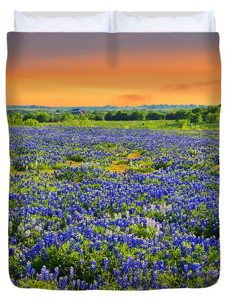 Bluebonnet Sunset  Duvet Cover