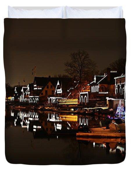 Boathouse Row Lights Duvet Cover by Bill Cannon