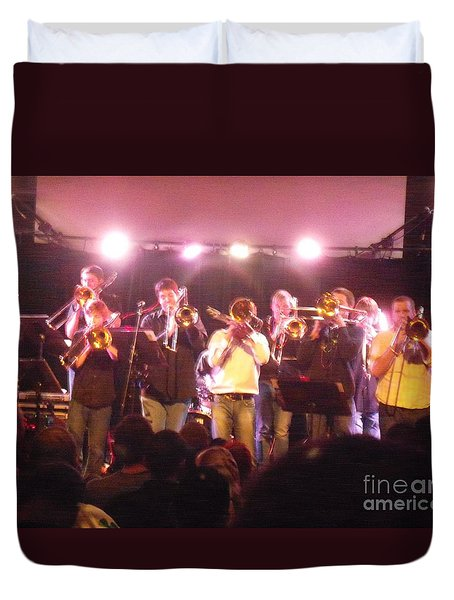 Duvet Cover featuring the photograph Bonerama At The Old Rock House by Kelly Awad