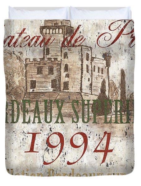 Bordeaux Blanc Label 2 Duvet Cover