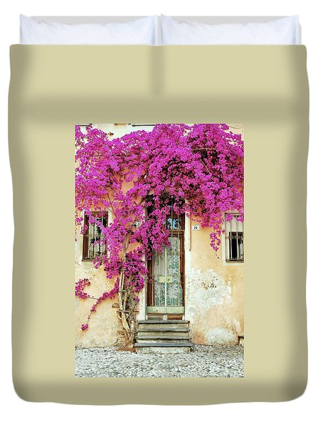 Bougainvillea Doorway Duvet Cover by Allen Beatty