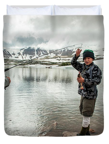 Boys Fish In Superior Lake During A Six Duvet Cover