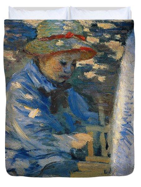 Breakfast In The Garden Duvet Cover by Claude Monet