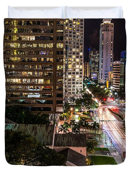 Brickell Ave Downtown Miami  Duvet Cover by Michael Moriarty