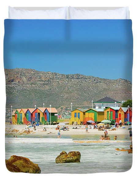 Bright Crayon-colored Beach Huts At St Duvet Cover
