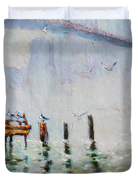 Brooklyn Bridge In A Foggy Morning   Duvet Cover