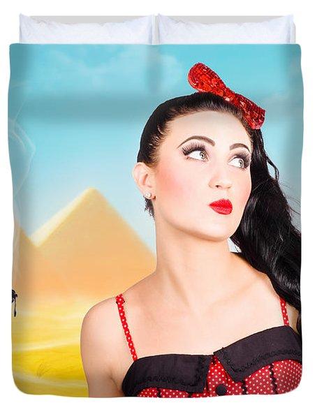 Brunette Girl Working Up A Hot Egyptian Hair Style Duvet Cover