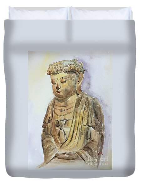 Duvet Cover featuring the painting Buddha by Jieming Wang