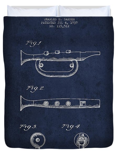 Bugle Call Instrument Patent Drawing From 1939 - Navy Blue Duvet Cover by Aged Pixel