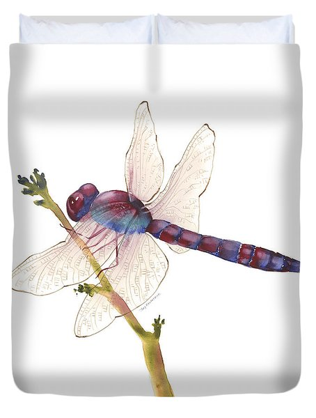 Burgundy Dragonfly  Duvet Cover