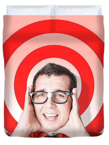 Business Man In Fear On Target Background Duvet Cover