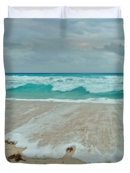 Duvet Cover featuring the photograph Cancun Evening Walk by Cheryl Del Toro