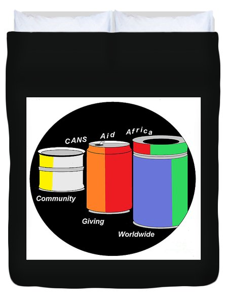 Duvet Cover featuring the digital art Cans Aid Africa Community Giving Worldwide by Mudiama Kammoh