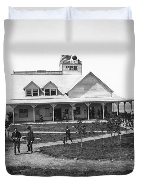Casino At The Top Of Mt Beacon In Black And White Duvet Cover