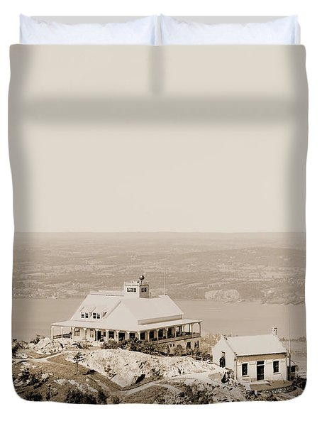 Casino At The Top Of Mt Beacon In Sepia Tone Duvet Cover