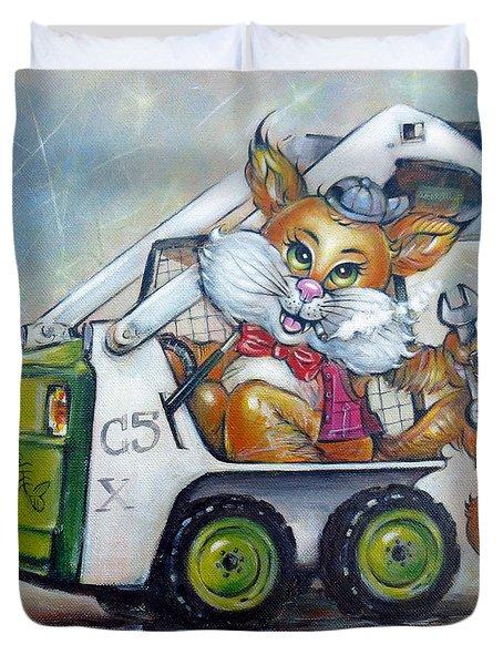 Cat C5x 190312 Duvet Cover by Selena Boron