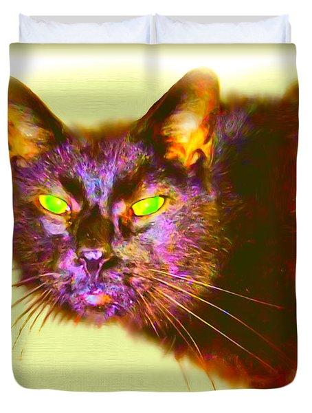 Duvet Cover featuring the digital art Cat by Daniel Janda
