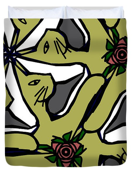 Duvet Cover featuring the digital art Cat / Shoe / Rose by Elizabeth McTaggart