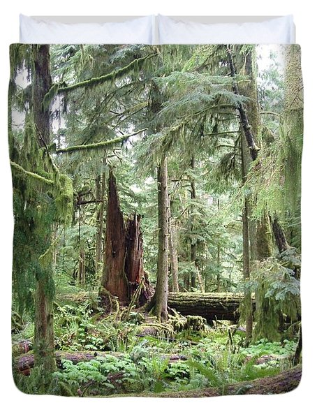 Duvet Cover featuring the photograph Cathedral Grove by Marilyn Wilson