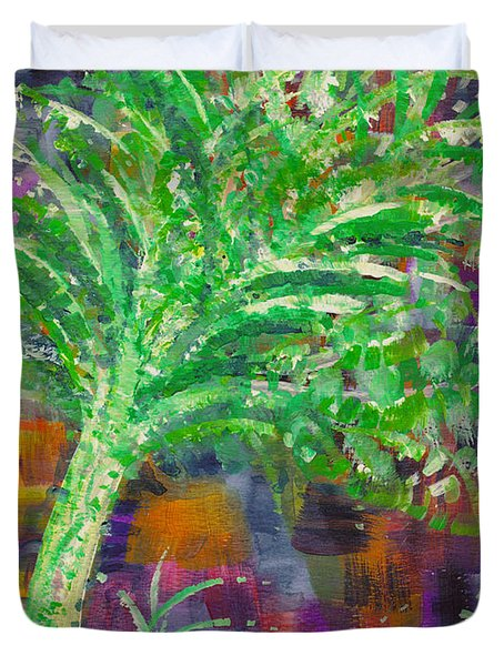 Duvet Cover featuring the painting Celery Tree by Holly Carmichael