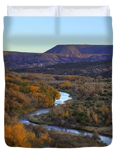 Chama River At Sunset Duvet Cover by Alan Vance Ley