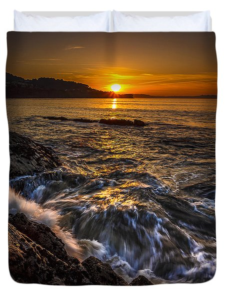 Chamoso Point In Ares Estuary Galicia Spain Duvet Cover by Pablo Avanzini