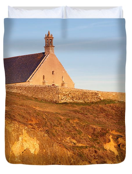 Chapel On A Cliff, Chapelle Saint-they Duvet Cover