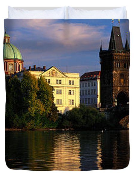 Charles Bridge Vltava River Prague Duvet Cover