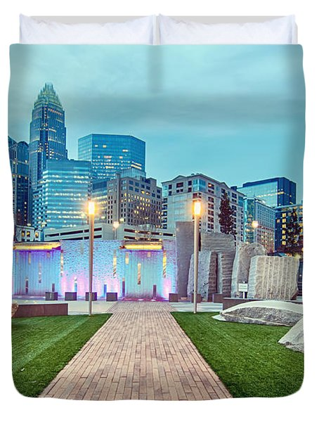 Charlotte City Skyline In The Evening Duvet Cover by Alex Grichenko