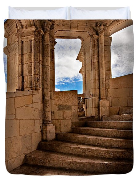 Duvet Cover featuring the photograph Chateau De Blois Staircase / Loire Valley by Barry O Carroll