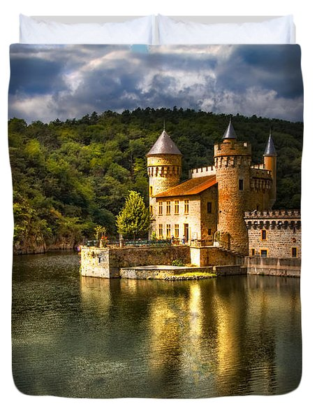 Chateau De La Roche Duvet Cover by Debra and Dave Vanderlaan