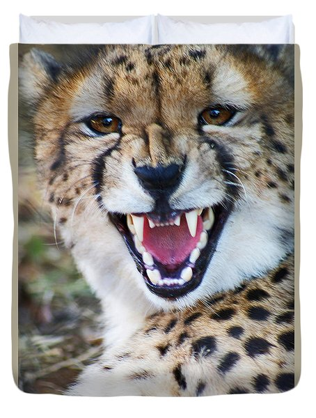 Cheetah With Attitude Duvet Cover by Stanza Widen