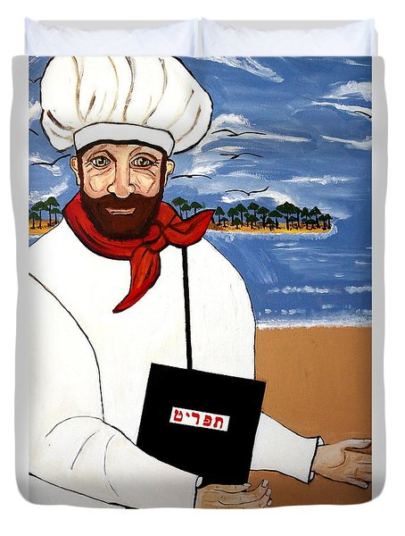 Duvet Cover featuring the painting Chef From Israel by Nora Shepley