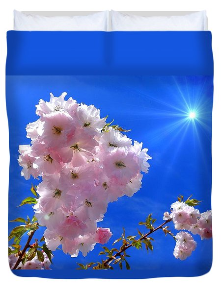 Duvet Cover featuring the photograph Cherry Blossoms  by Nick Kloepping