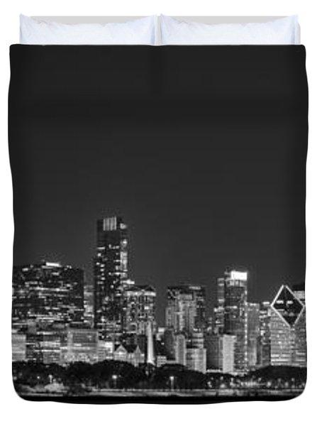 Chicago Skyline At Night Black And White Panoramic Duvet Cover by Adam Romanowicz