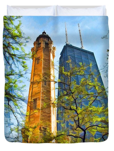 Chicago Water And Hancock Towers Duvet Cover by Christopher Arndt