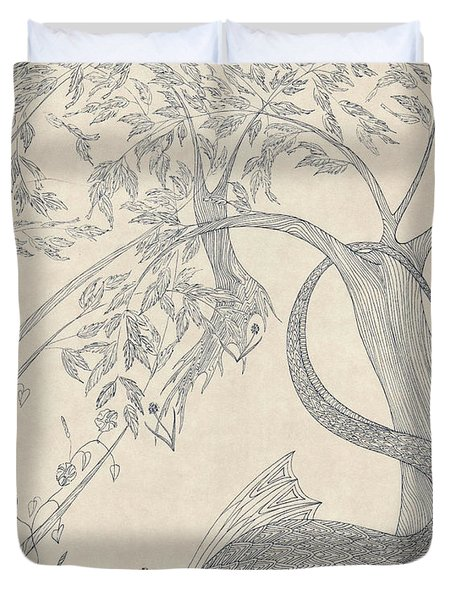 Duvet Cover featuring the drawing China The Dragon by Dianne Levy