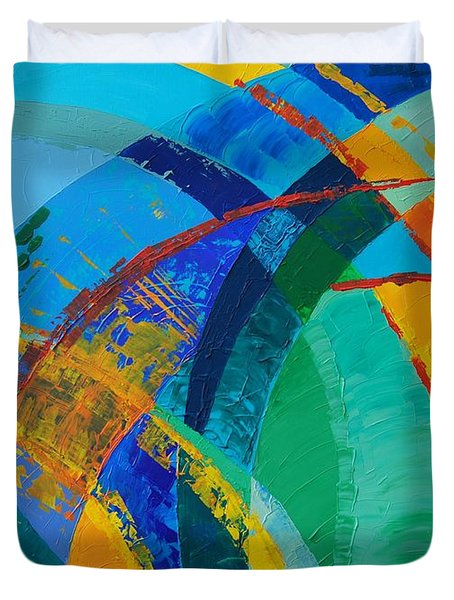Duvet Cover featuring the painting Choices by Linda Bailey