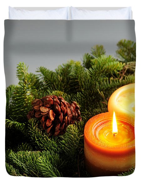 Christmas Candles Duvet Cover by Elena Elisseeva