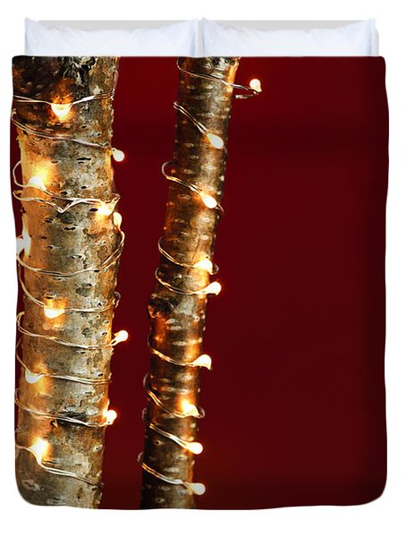 Christmas Lights On Birch Branches Duvet Cover
